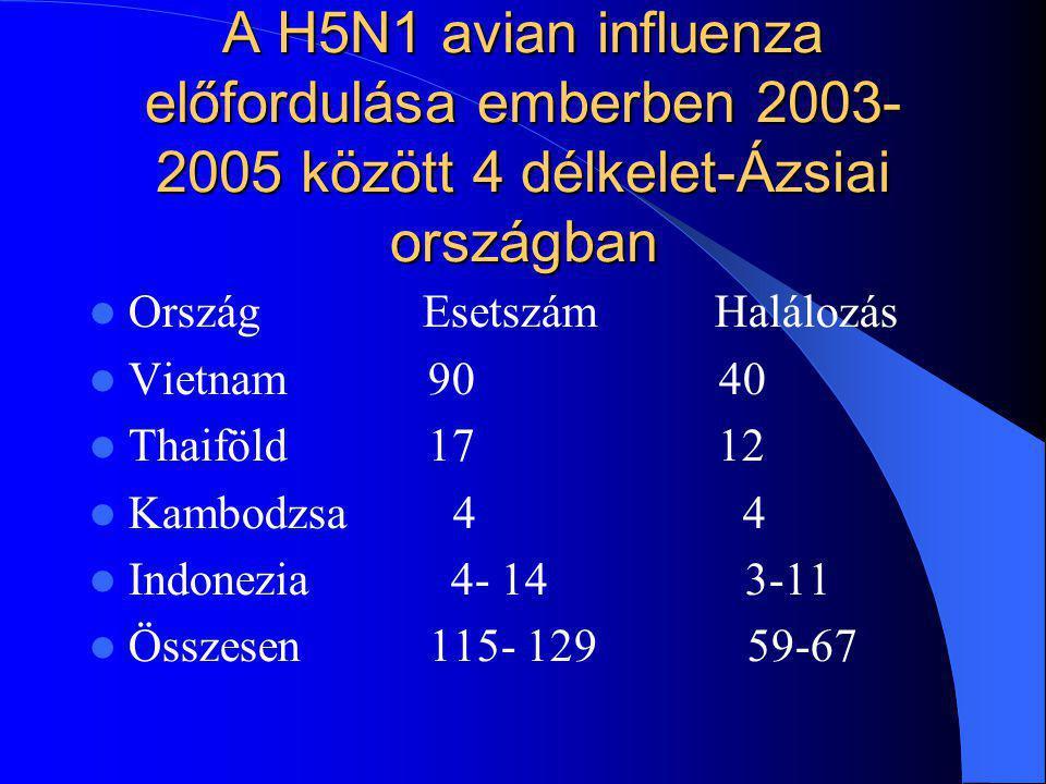 A H5N1 avian influenza előfordulása emberben 2003-2005 között 4 délkelet-Ázsiai országban