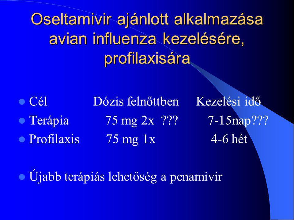 Oseltamivir ajánlott alkalmazása avian influenza kezelésére, profilaxisára