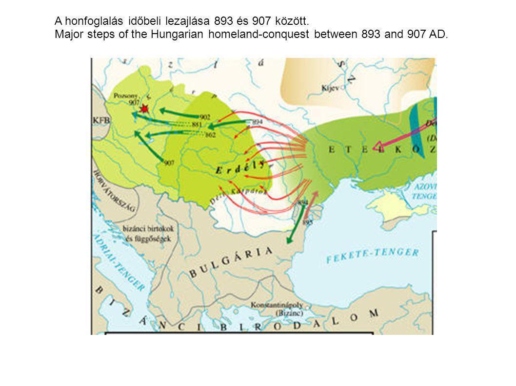 A honfoglalás időbeli lezajlása 893 és 907 között.