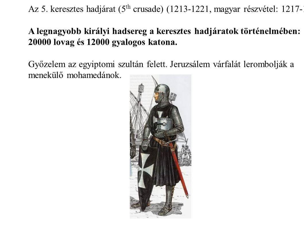 Az 5. keresztes hadjárat (5th crusade) (1213-1221, magyar részvétel: 1217-1218)
