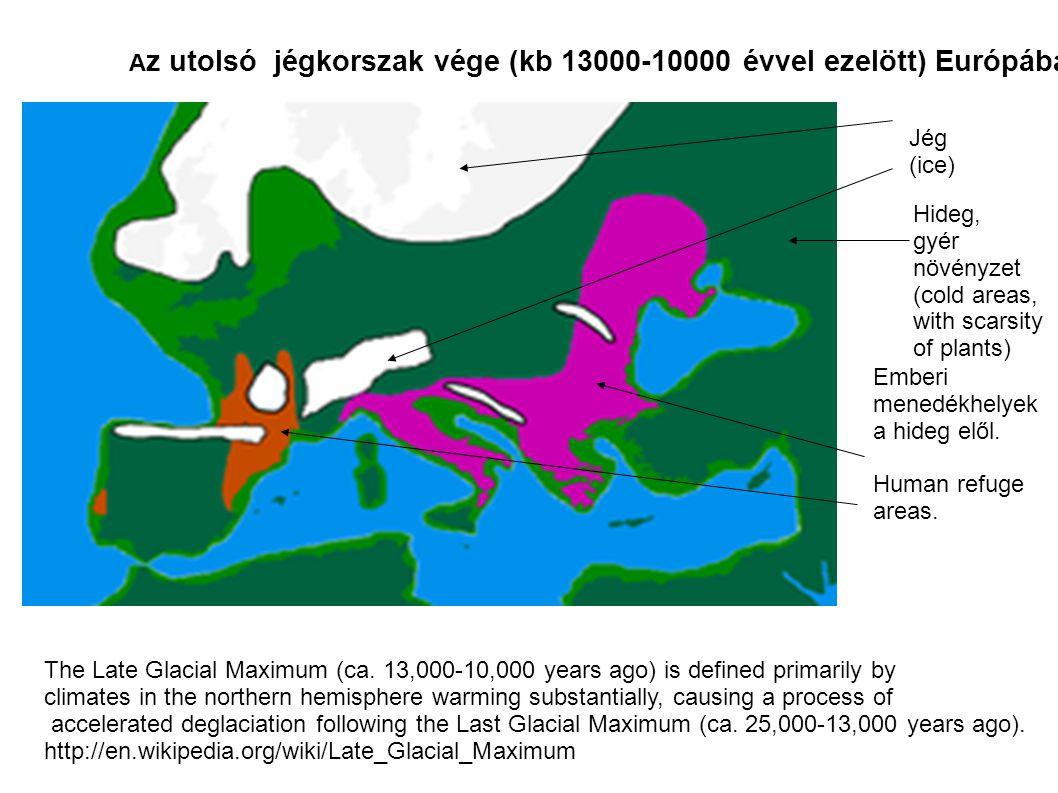 Az utolsó jégkorszak vége (kb 13000-10000 évvel ezelött) Európában.
