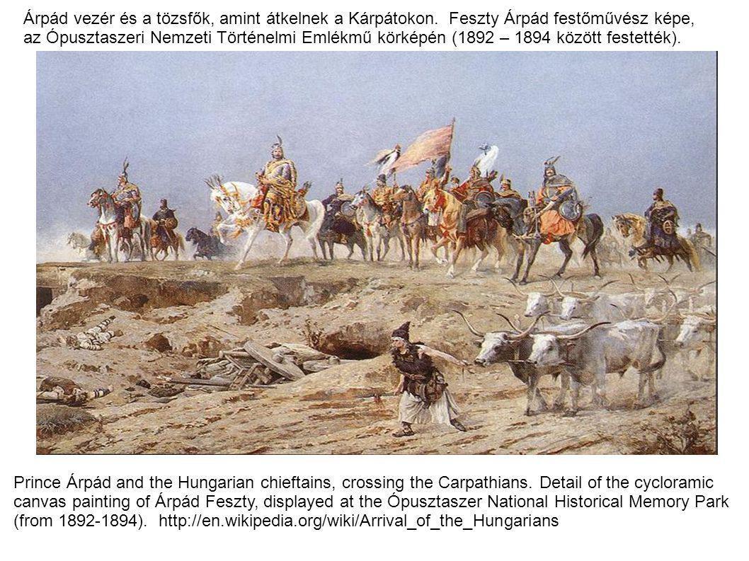 Árpád vezér és a tözsfők, amint átkelnek a Kárpátokon