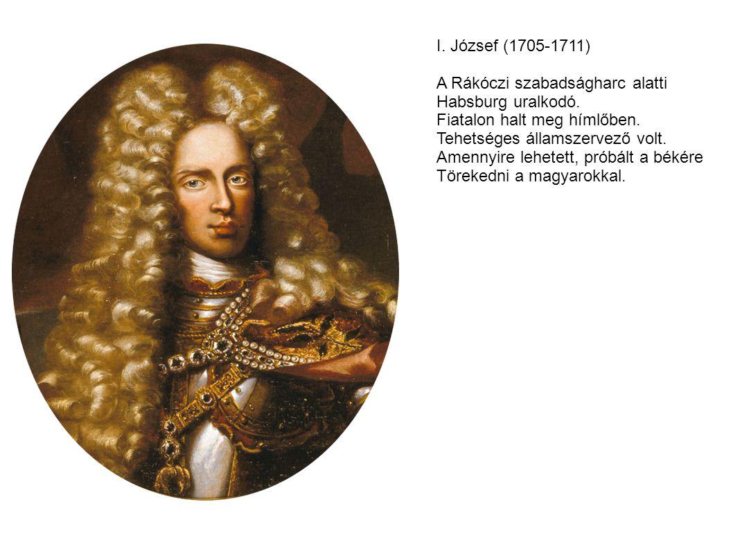 I. József (1705-1711) A Rákóczi szabadságharc alatti. Habsburg uralkodó. Fiatalon halt meg hímlőben.