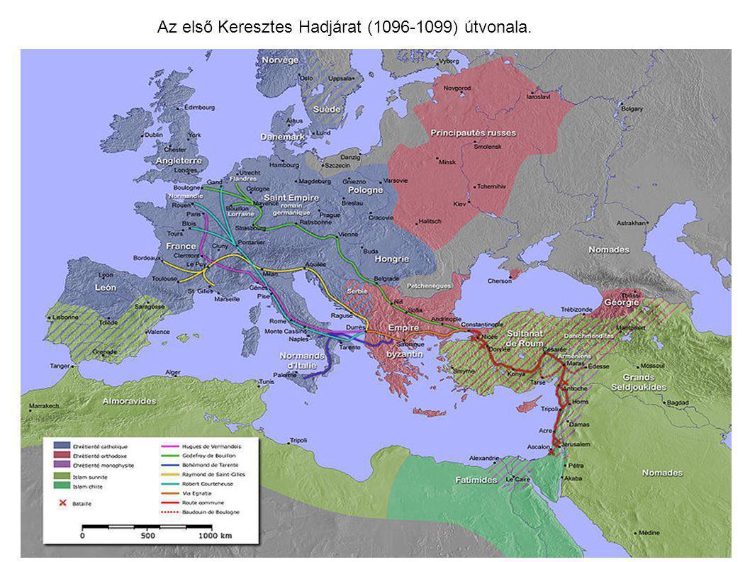 Az első Keresztes Hadjárat (1096-1099) útvonala.