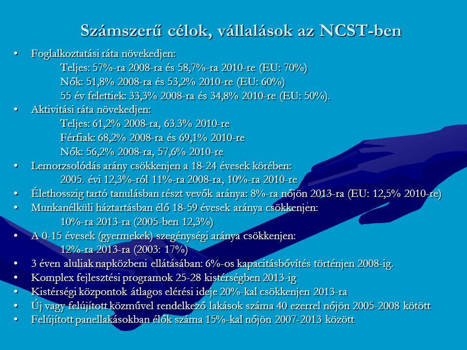 Számszerű célok, vállalások az NCST-ben