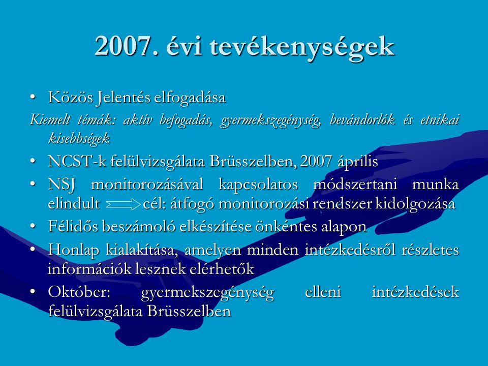 2007. évi tevékenységek Közös Jelentés elfogadása