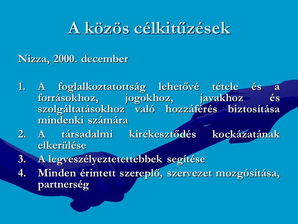 A közös célkitűzések Nizza, 2000. december