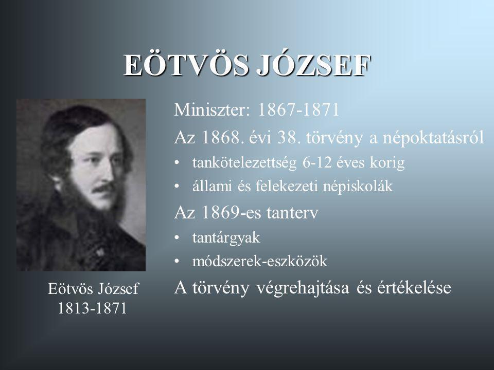 EÖTVÖS JÓZSEF Miniszter: 1867-1871