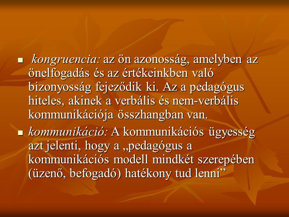 kongruencia: az ön azonosság, amelyben az önelfogadás és az értékeinkben való bizonyosság fejeződik ki. Az a pedagógus hiteles, akinek a verbális és nem-verbális kommunikációja összhangban van.
