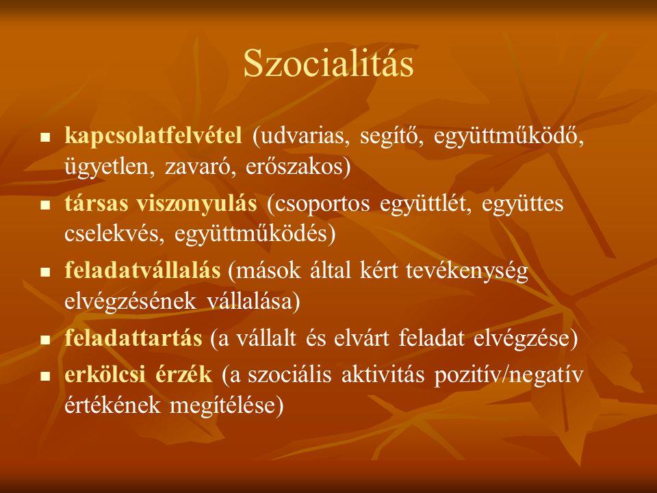 Szocialitás kapcsolatfelvétel (udvarias, segítő, együttműködő, ügyetlen, zavaró, erőszakos)