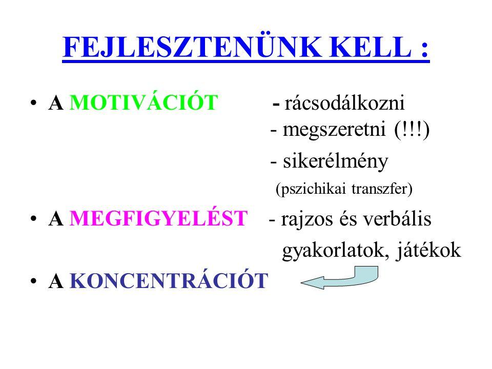FEJLESZTENÜNK KELL : A MOTIVÁCIÓT - rácsodálkozni - megszeretni (!!!)