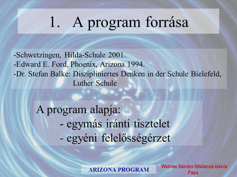 1. A program forrása A program alapja: - egymás iránti tisztelet