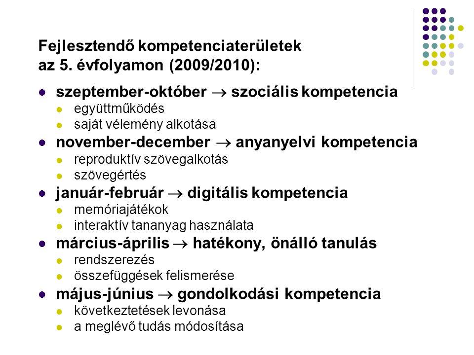 Fejlesztendő kompetenciaterületek az 5. évfolyamon (2009/2010):