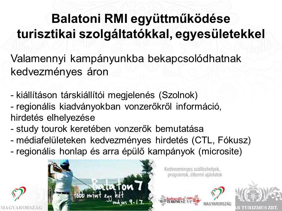Balatoni RMI együttműködése turisztikai szolgáltatókkal, egyesületekkel