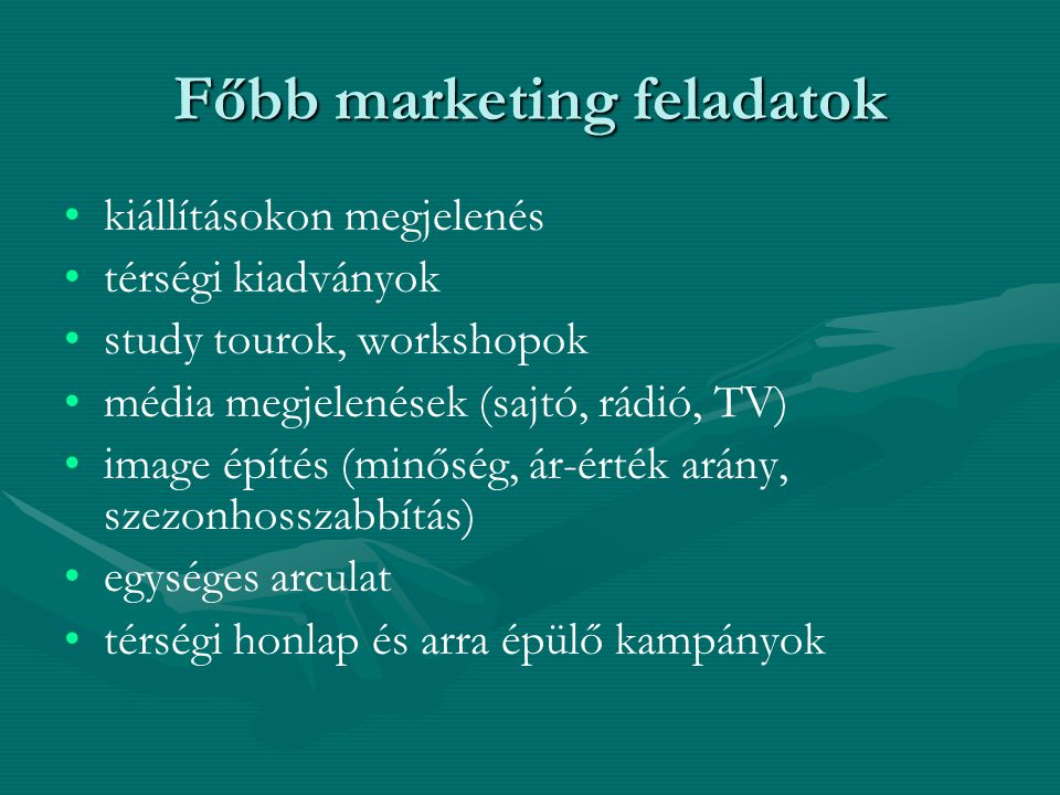 Főbb marketing feladatok