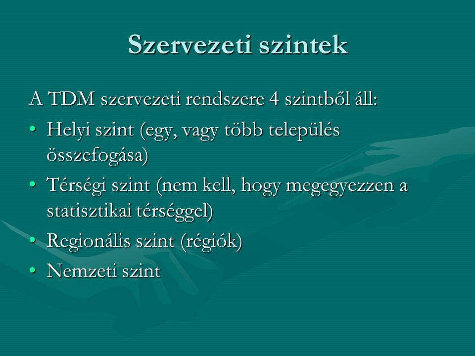 Szervezeti szintek A TDM szervezeti rendszere 4 szintből áll: