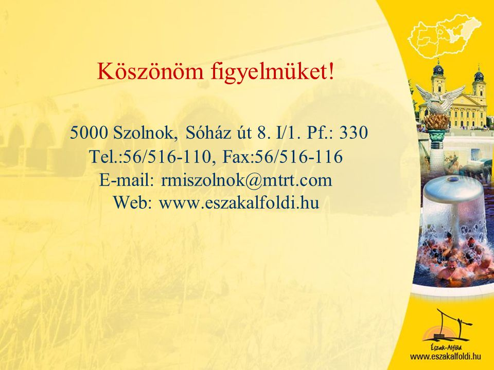 Köszönöm figyelmüket. 5000 Szolnok, Sóház út 8. I/1. Pf. : 330 Tel