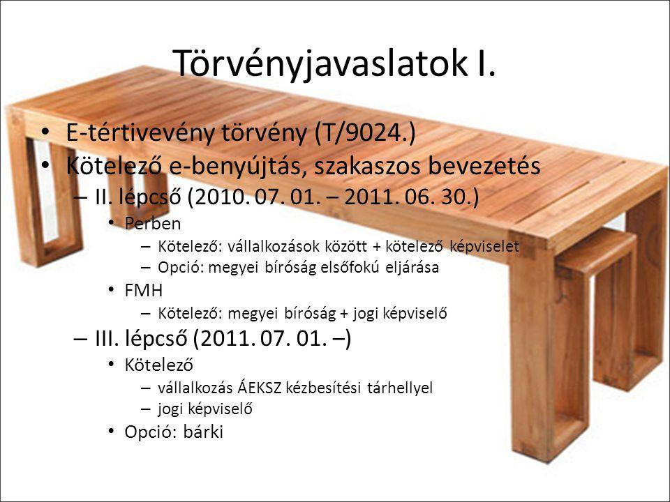Törvényjavaslatok I. E-tértivevény törvény (T/9024.)
