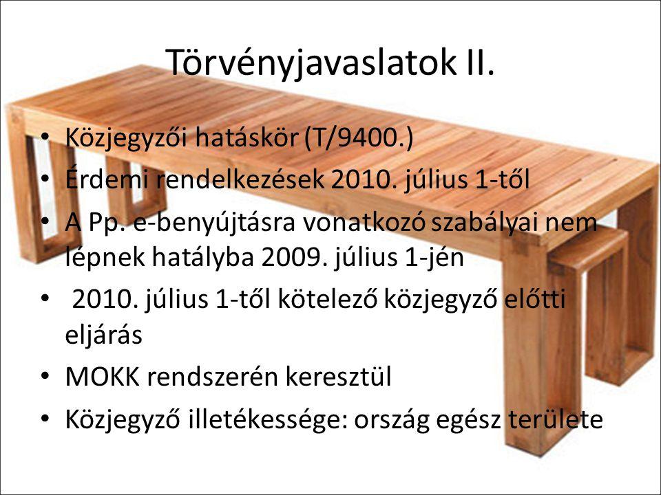 Törvényjavaslatok II. Közjegyzői hatáskör (T/9400.)