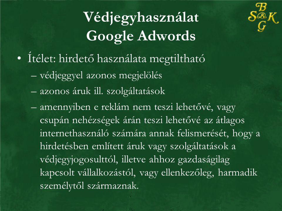 Védjegyhasználat Google Adwords