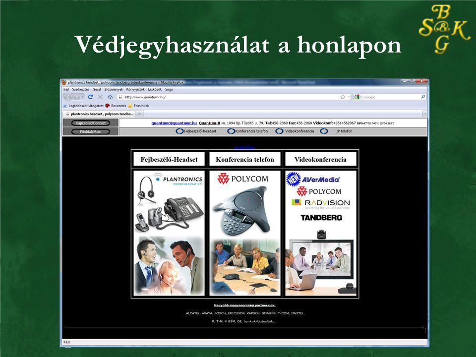 Védjegyhasználat a honlapon