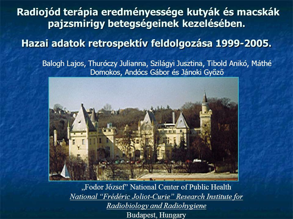 Radiojód terápia eredményessége kutyák és macskák pajzsmirigy betegségeinek kezelésében. Hazai adatok retrospektív feldolgozása 1999-2005.