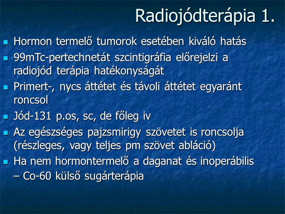 Radiojódterápia 1. Hormon termelő tumorok esetében kiváló hatás