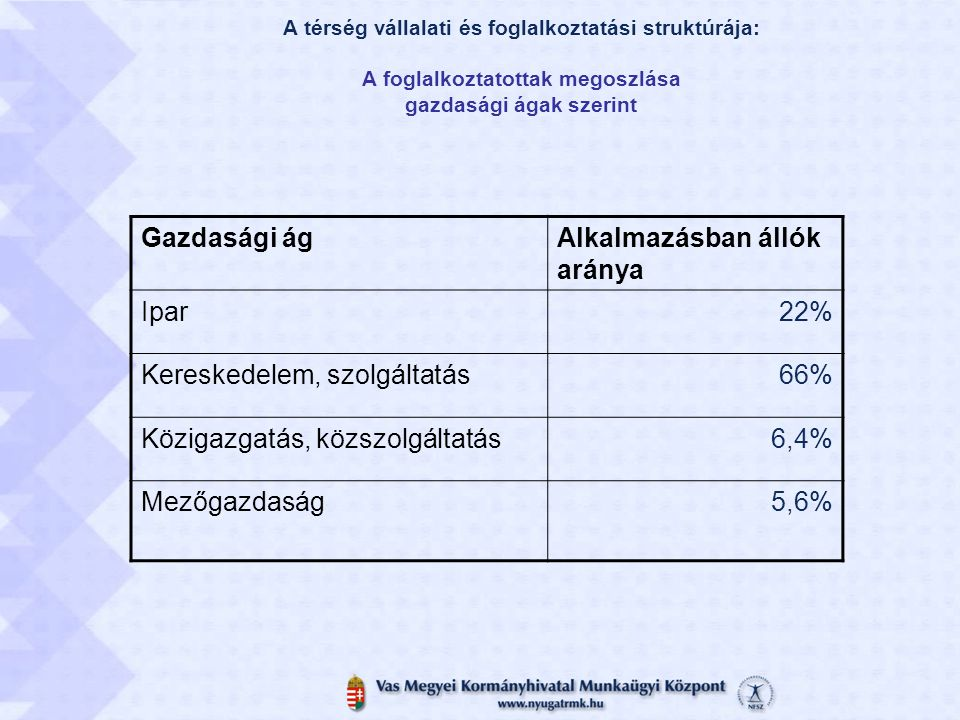 Alkalmazásban állók aránya Ipar 22% Kereskedelem, szolgáltatás 66%