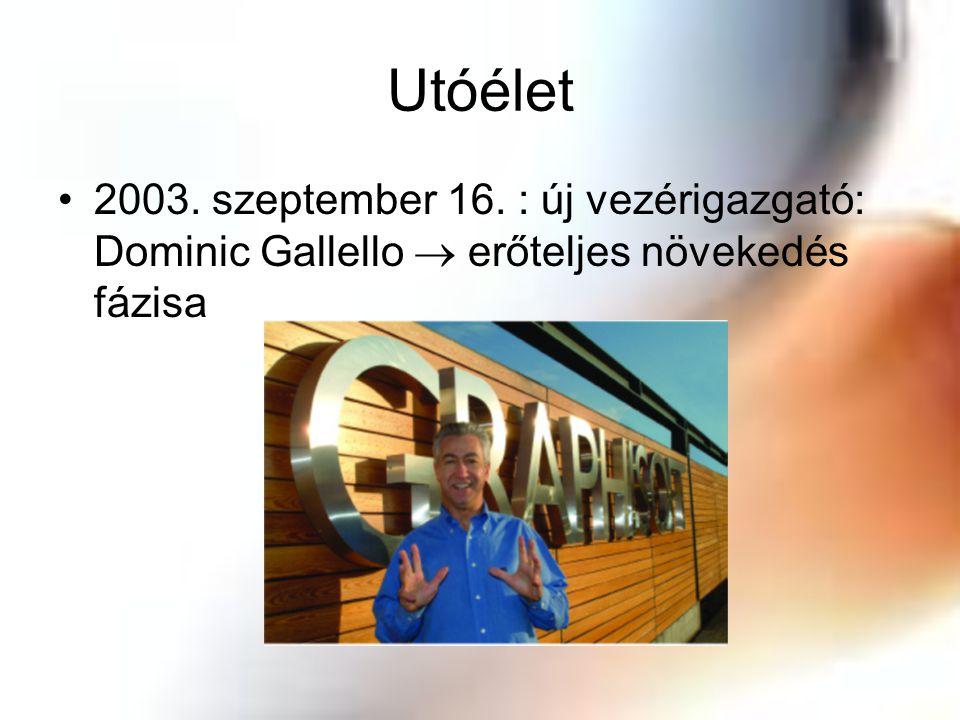 Utóélet 2003. szeptember 16. : új vezérigazgató: Dominic Gallello  erőteljes növekedés fázisa