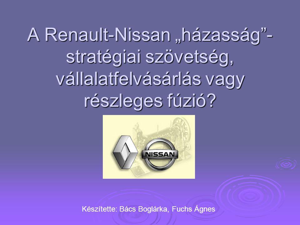"""A Renault-Nissan """"házasság - stratégiai szövetség, vállalatfelvásárlás vagy részleges fúzió"""
