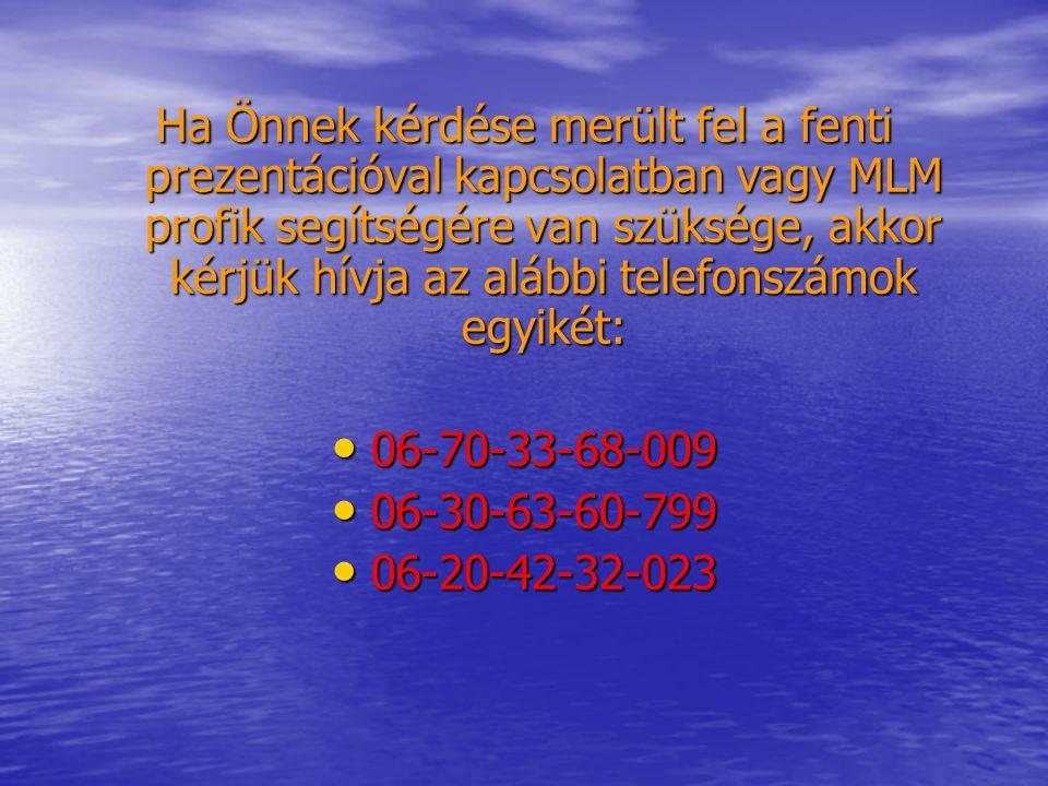 Ha Önnek kérdése merült fel a fenti prezentációval kapcsolatban vagy MLM profik segítségére van szüksége, akkor kérjük hívja az alábbi telefonszámok egyikét: