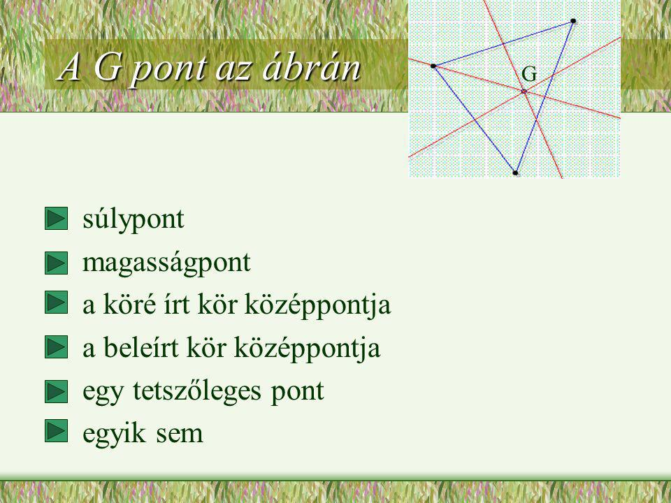 A G pont az ábrán súlypont magasságpont a köré írt kör középpontja