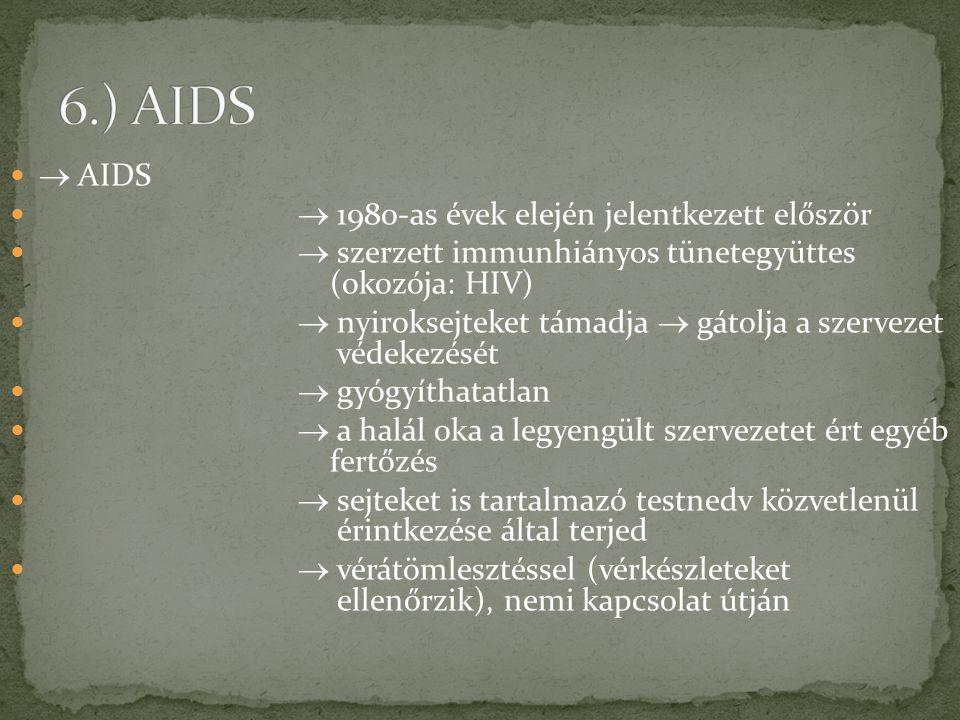 6.) AIDS  AIDS  1980-as évek elején jelentkezett először