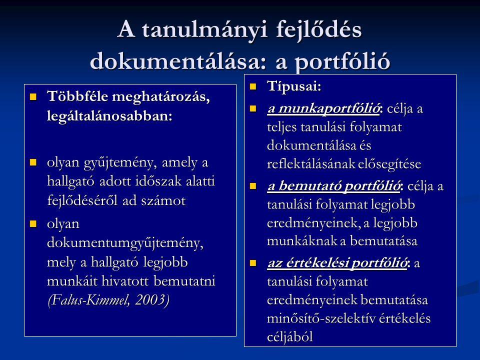 A tanulmányi fejlődés dokumentálása: a portfólió