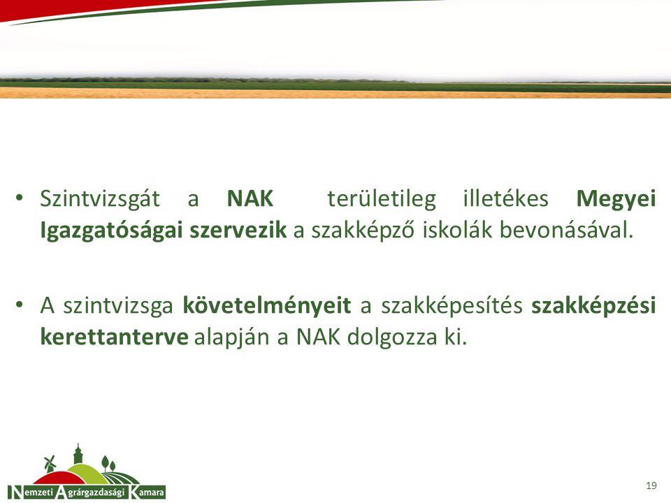 Szintvizsgát a NAK területileg illetékes Megyei Igazgatóságai szervezik a szakképző iskolák bevonásával.