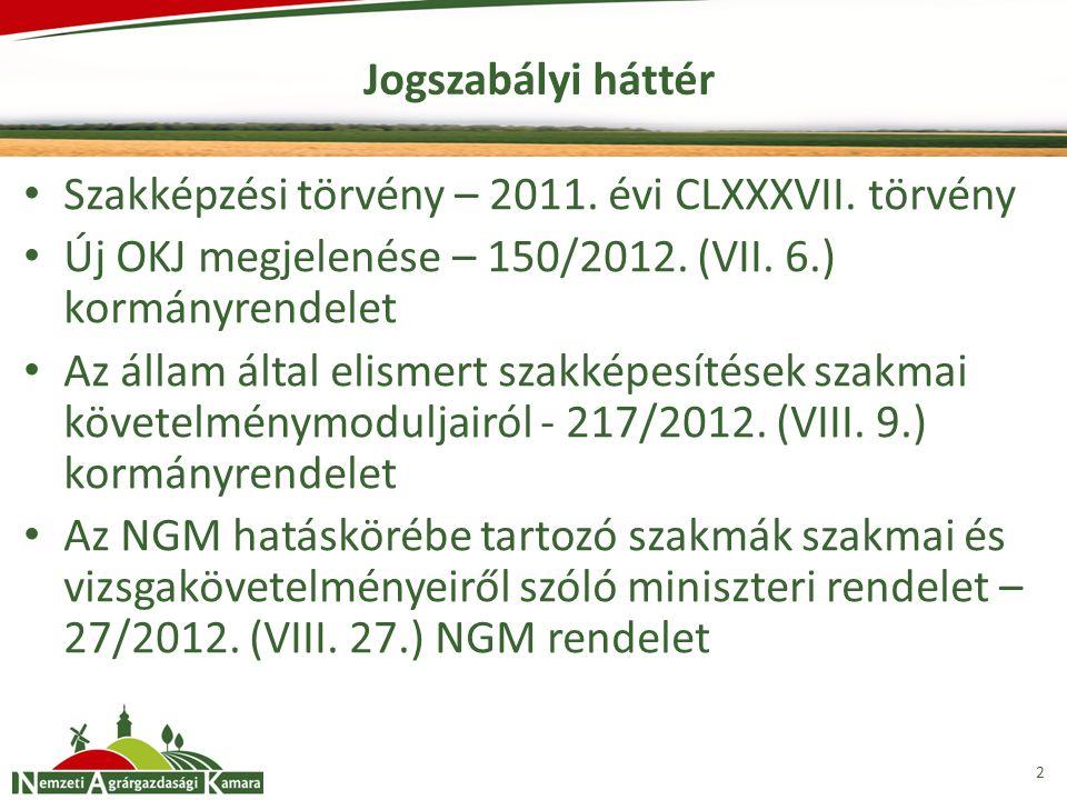 Jogszabályi háttér Szakképzési törvény – 2011. évi CLXXXVII. törvény. Új OKJ megjelenése – 150/2012. (VII. 6.) kormányrendelet.