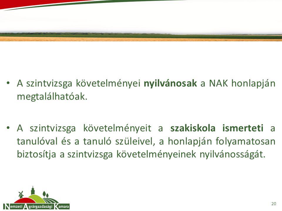 A szintvizsga követelményei nyilvánosak a NAK honlapján megtalálhatóak.