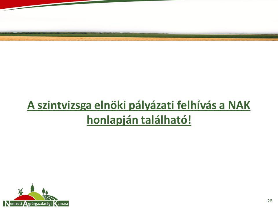 A szintvizsga elnöki pályázati felhívás a NAK honlapján található!