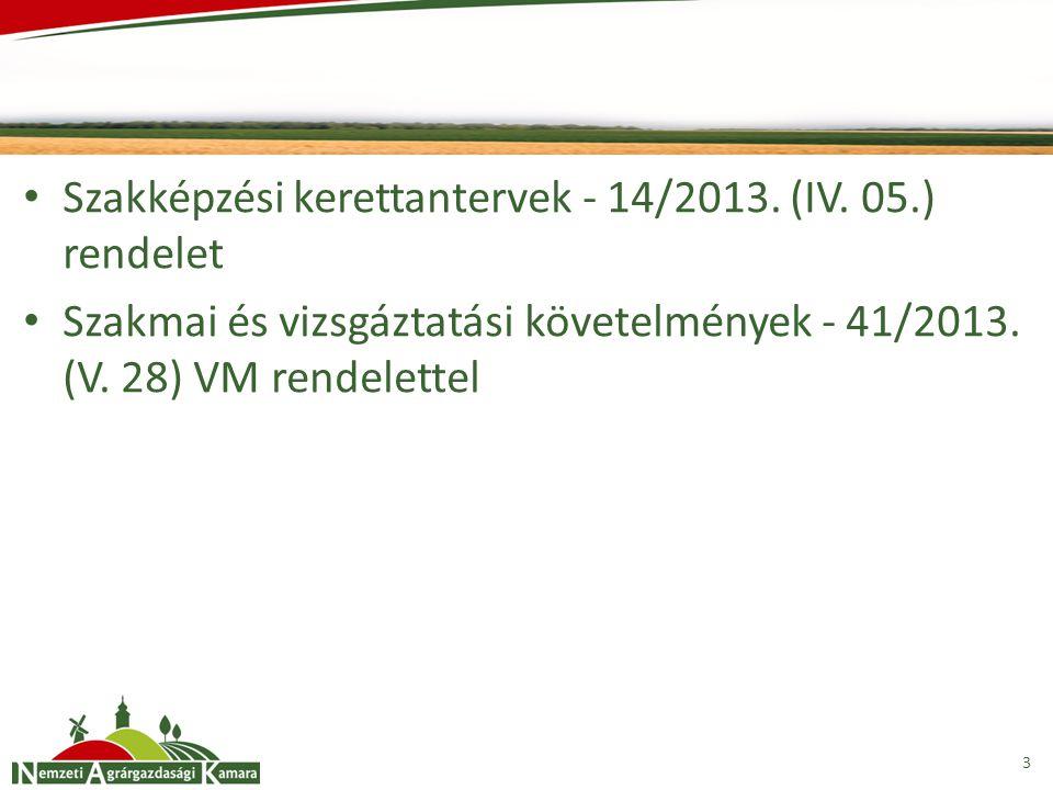 Szakképzési kerettantervek - 14/2013. (IV. 05.) rendelet