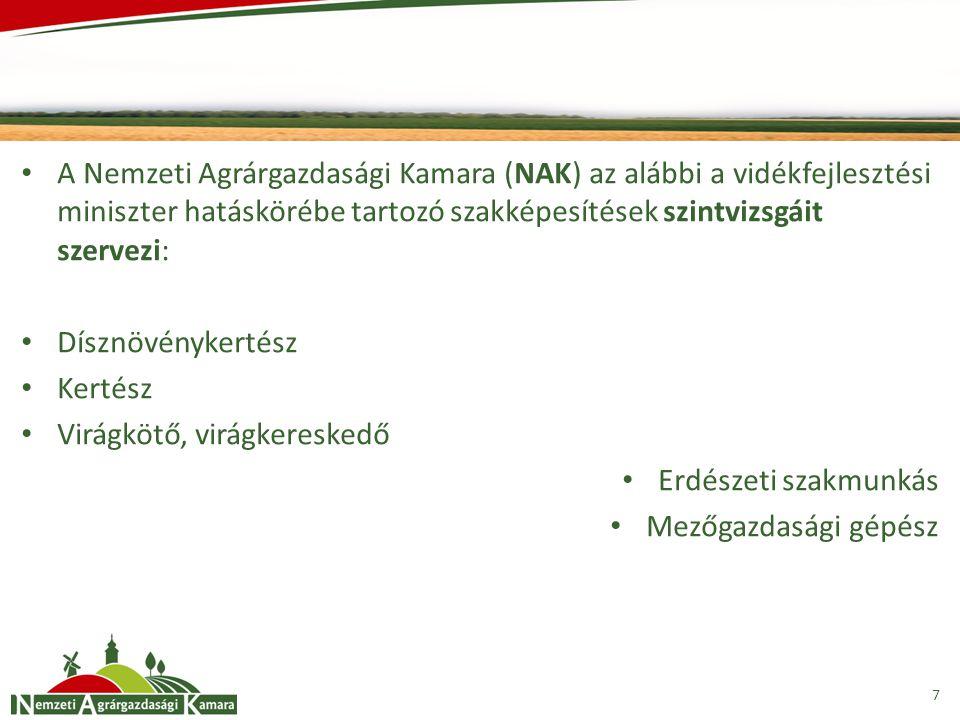 A Nemzeti Agrárgazdasági Kamara (NAK) az alábbi a vidékfejlesztési miniszter hatáskörébe tartozó szakképesítések szintvizsgáit szervezi: