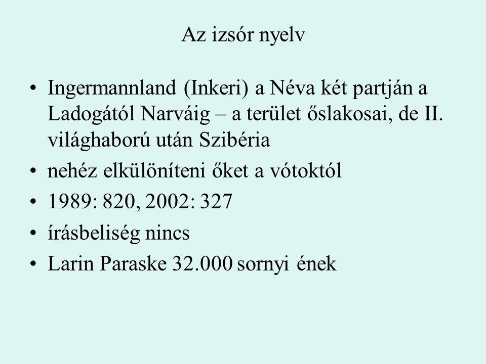 Az izsór nyelv Ingermannland (Inkeri) a Néva két partján a Ladogától Narváig – a terület őslakosai, de II. világhaború után Szibéria.