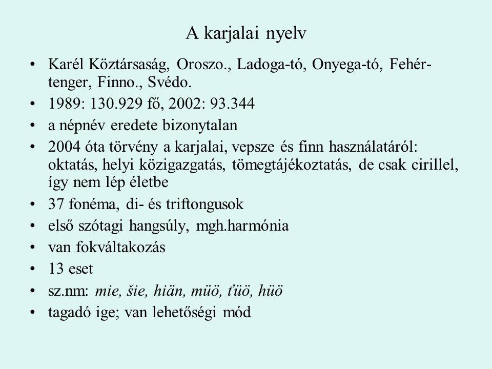 A karjalai nyelv Karél Köztársaság, Oroszo., Ladoga-tó, Onyega-tó, Fehér-tenger, Finno., Svédo. 1989: 130.929 fő, 2002: 93.344.