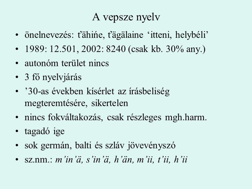 A vepsze nyelv önelnevezés: ťähińe, ťägälaine 'itteni, helybéli'