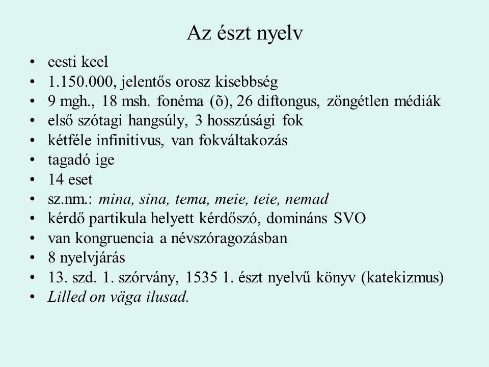 Az észt nyelv eesti keel 1.150.000, jelentős orosz kisebbség