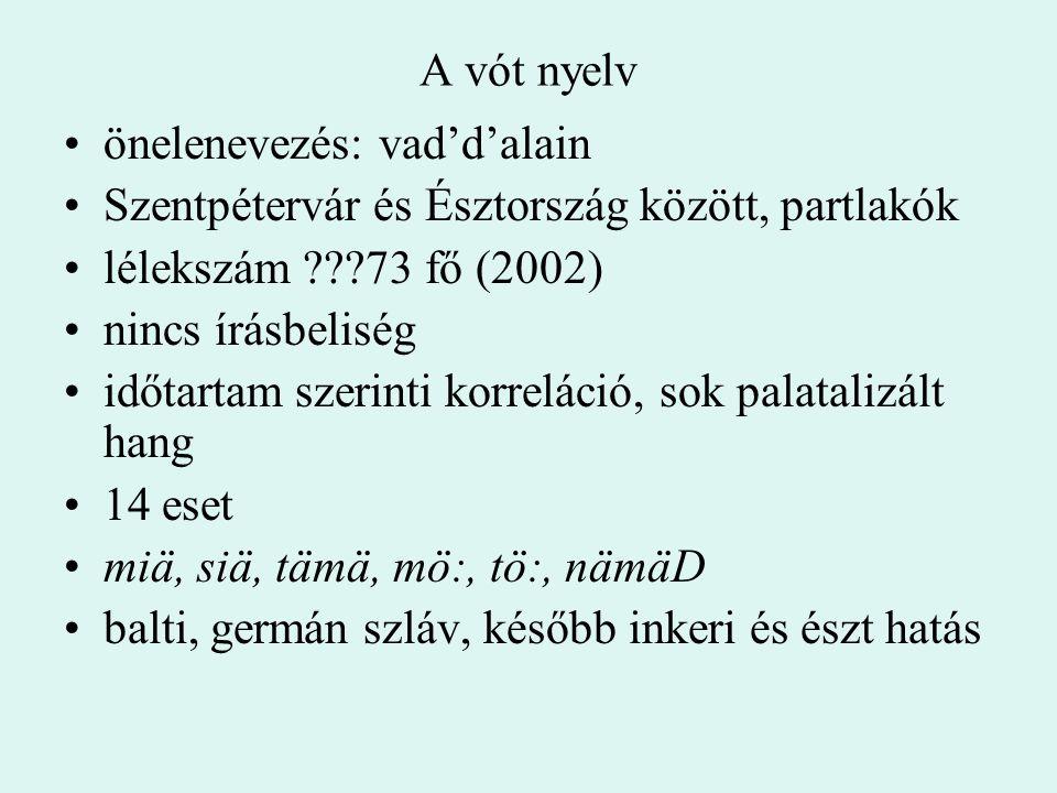 A vót nyelv önelenevezés: vad'd'alain. Szentpétervár és Észtország között, partlakók. lélekszám 73 fő (2002)