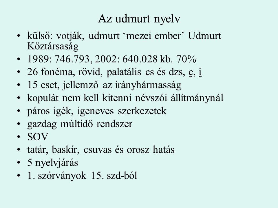 Az udmurt nyelv külső: votják, udmurt 'mezei ember' Udmurt Köztársaság