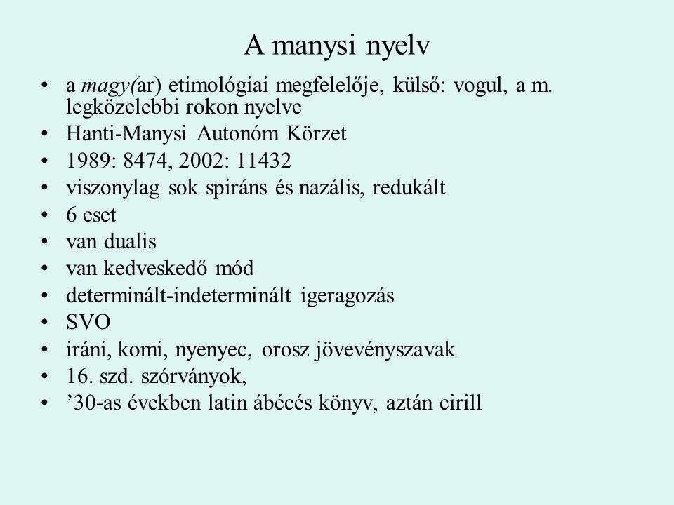 A manysi nyelv a magy(ar) etimológiai megfelelője, külső: vogul, a m. legközelebbi rokon nyelve. Hanti-Manysi Autonóm Körzet.