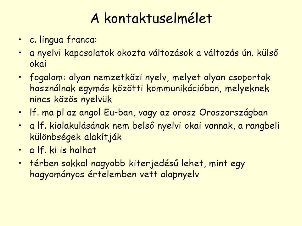 A kontaktuselmélet c. lingua franca: