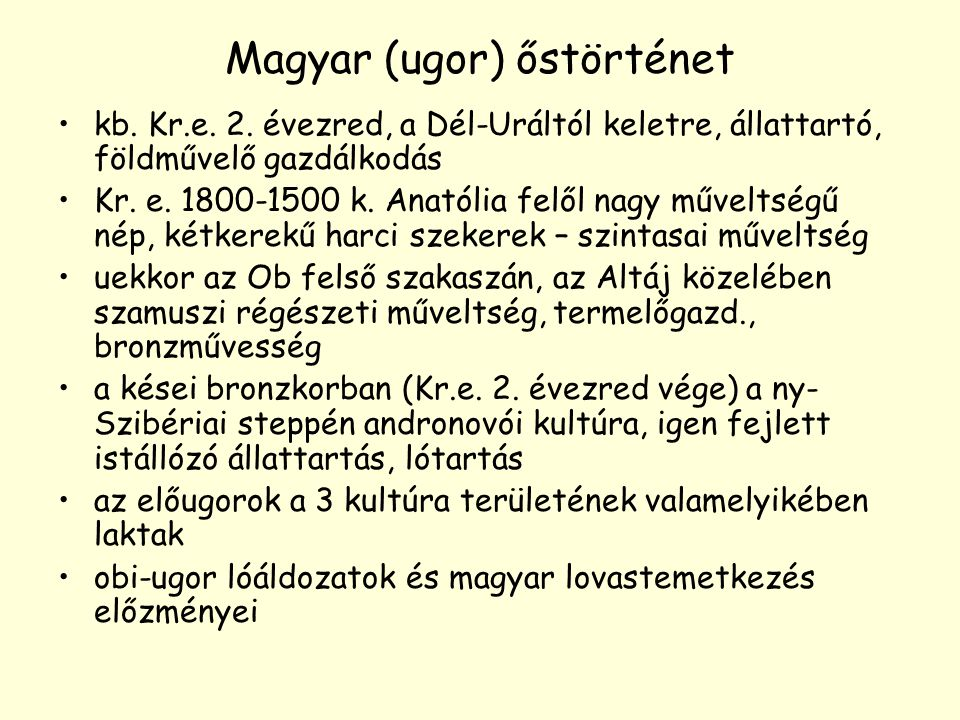 Magyar (ugor) őstörténet