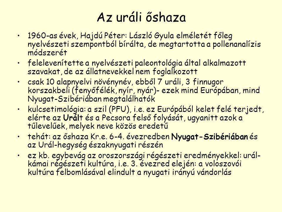Az uráli őshaza 1960-as évek, Hajdú Péter: László Gyula elméletét főleg nyelvészeti szempontból bírálta, de megtartotta a pollenanalízis módszerét.